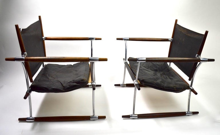 Pair of Quistgaard for Dansk Safari Lounge Chairs For Sale 9