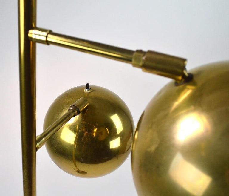 Three-Light Brass Floor Lamp by Koch and Lowy For Sale 2