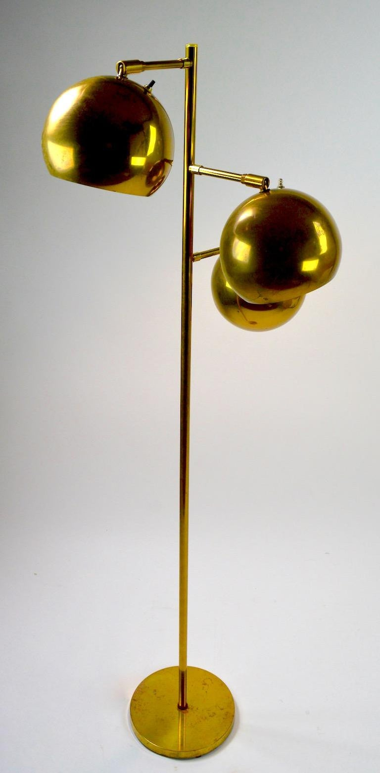 American Three-Light Brass Floor Lamp by Koch and Lowy For Sale