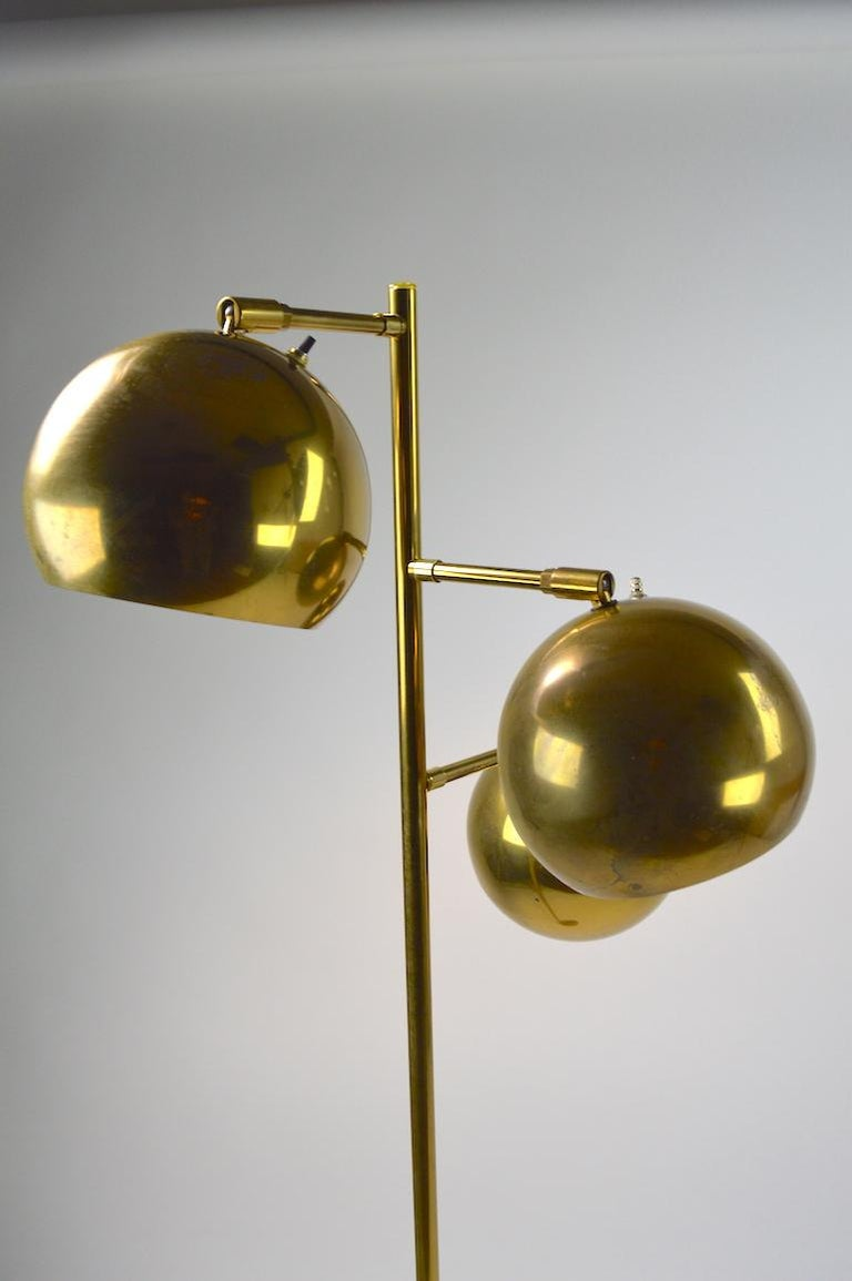 Mid-Century Modern Three-Light Brass Floor Lamp by Koch and Lowy For Sale
