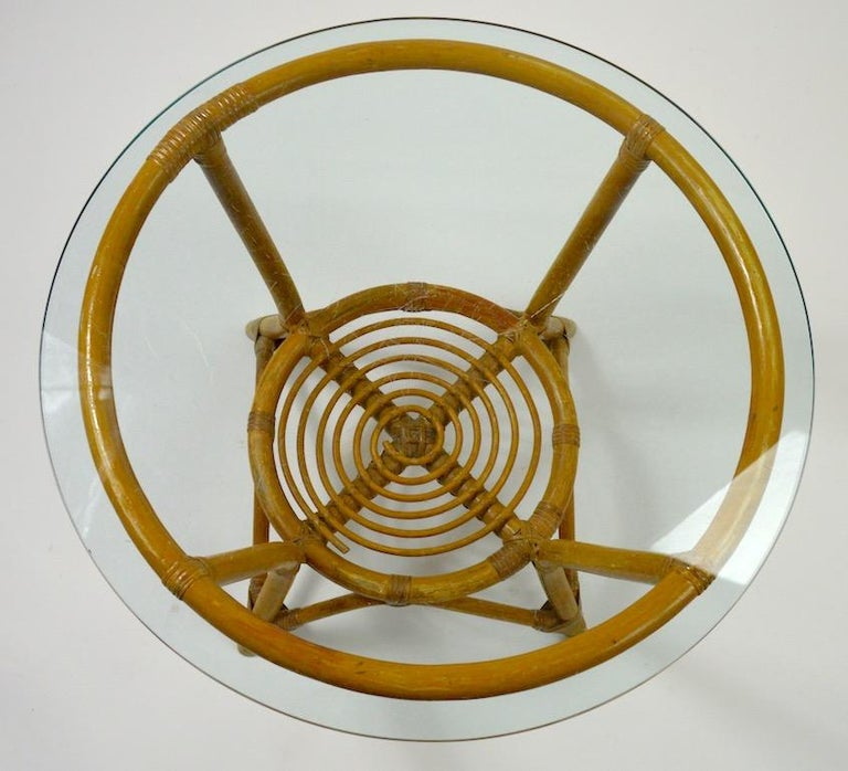 American Glass Top Bamboo Table For Sale