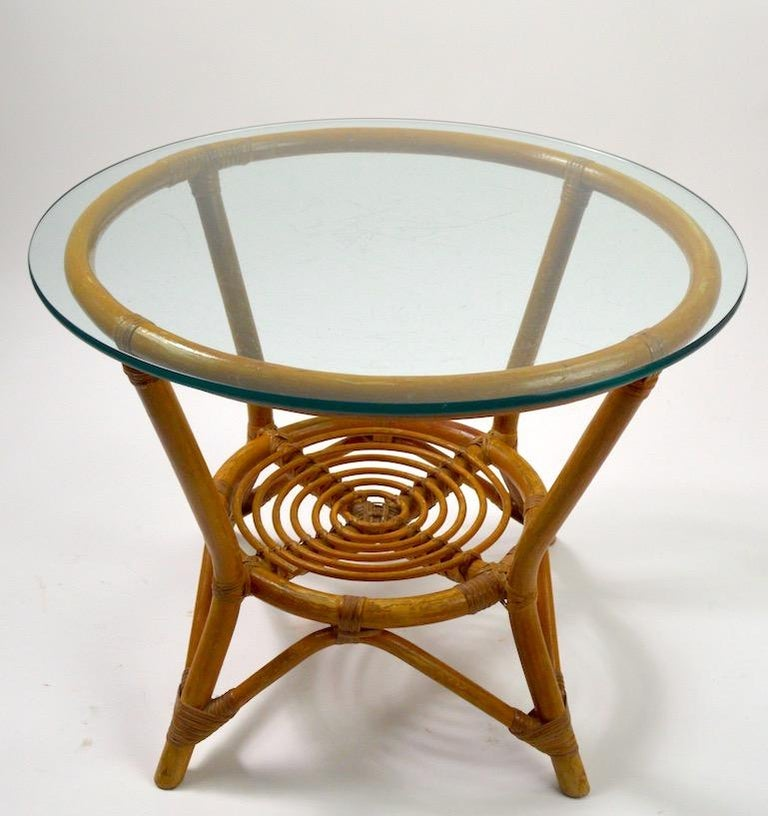 Mid-Century Modern Glass Top Bamboo Table For Sale