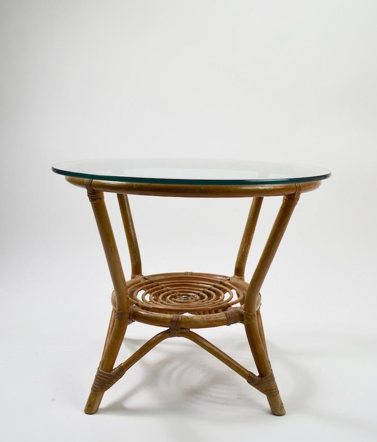 Glass Top Bamboo Table In Good Condition For Sale In New York, NY