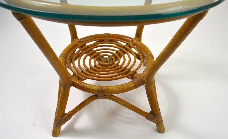 20th Century Glass Top Bamboo Table For Sale