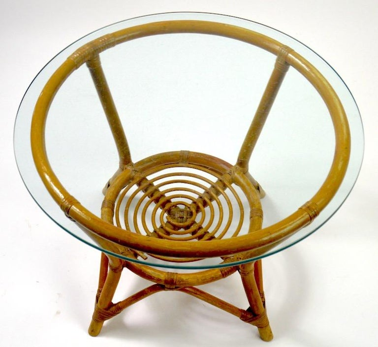 Glass Top Bamboo Table For Sale 1