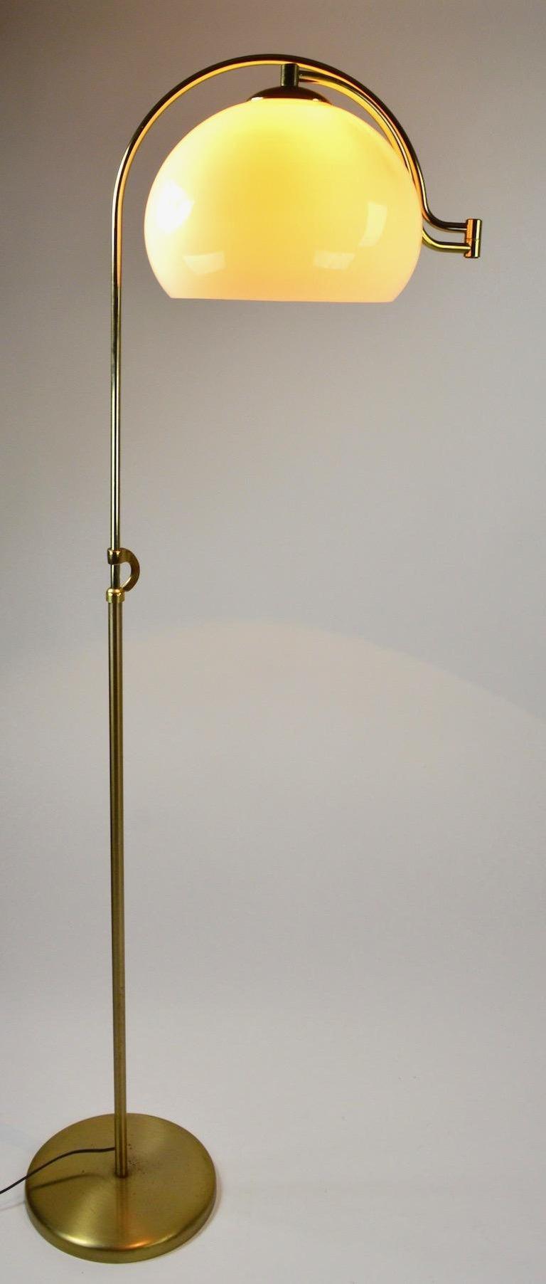 Mid-Century Modern Adjustable Swing Arm Floor Lamp by Laurel For Sale