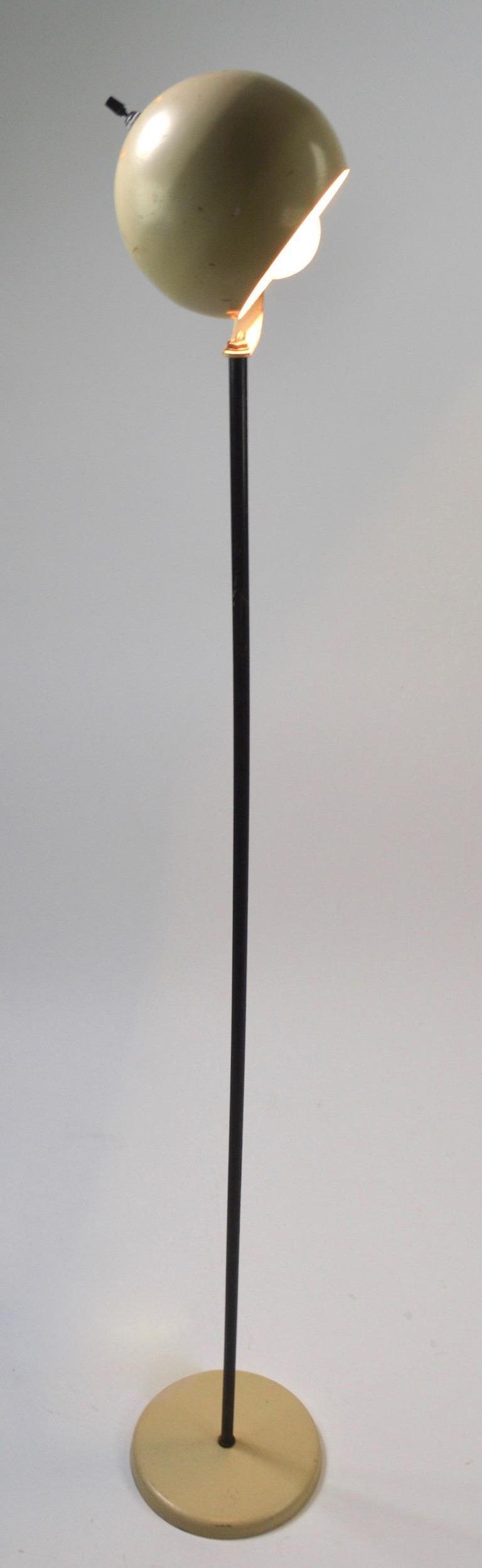 Mid-Century Modern Cream and Black Ball Shade Floor Lamp by Sonneman For Sale