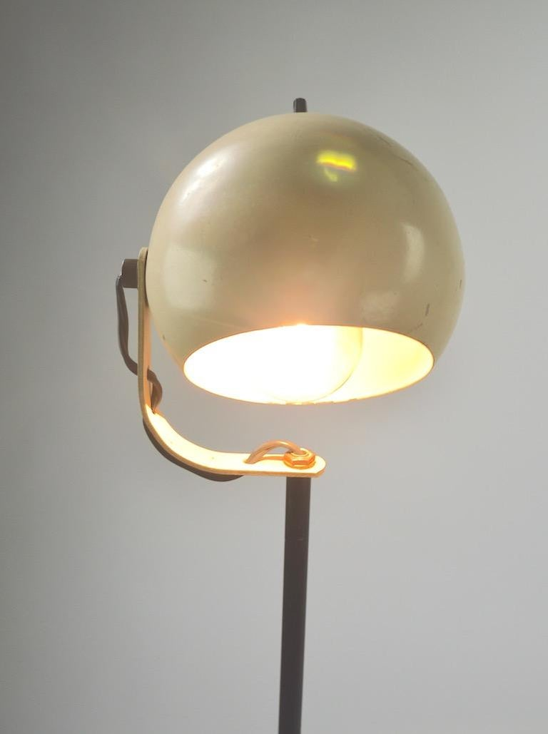 American Cream and Black Ball Shade Floor Lamp by Sonneman For Sale
