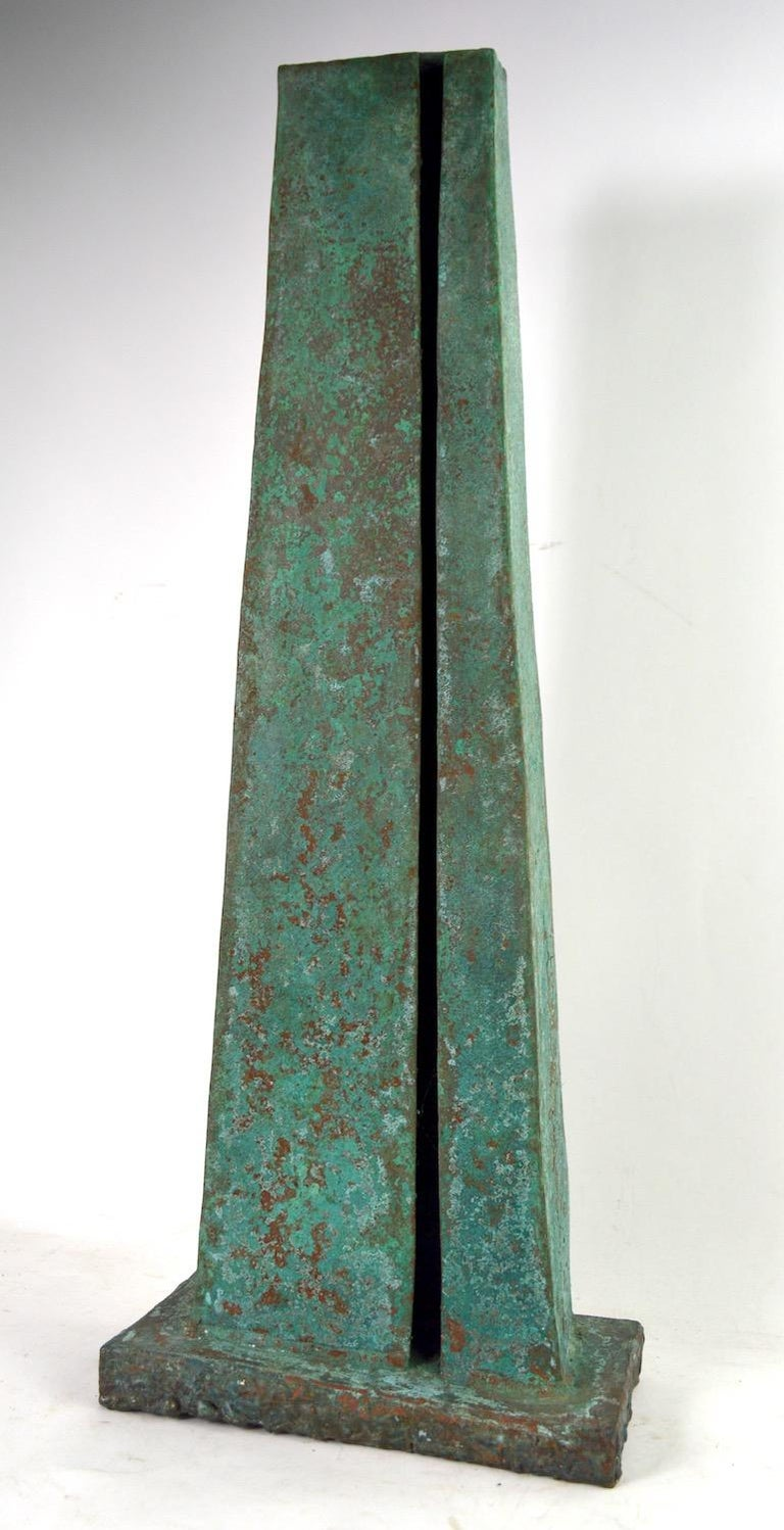 Impressive table top Verdigris finish Brutalist sculpture by noted American Sculptor Jack Hemenway. Monolith form, great original condition, ready to use. Red label which reads Sanctuary II 1500 was originally attached to the bottom, I assume it is