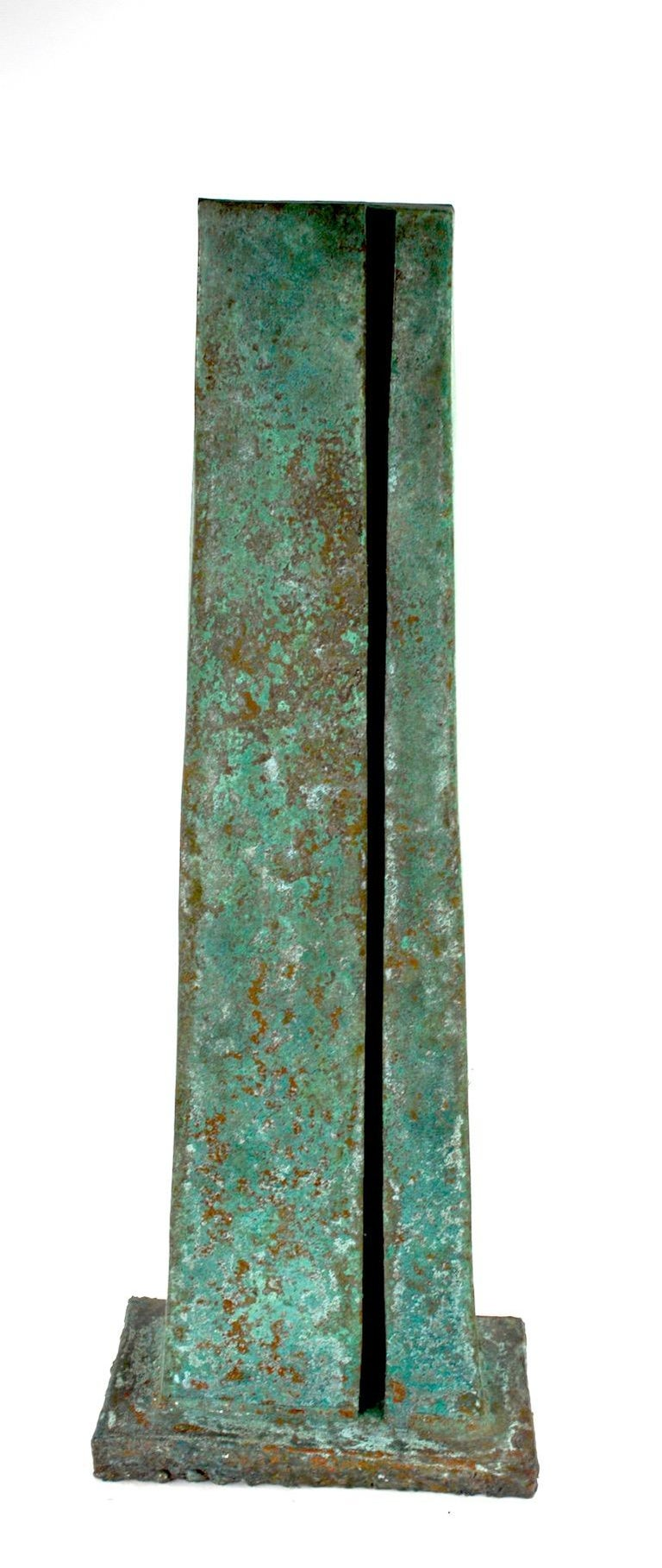 Verdigris Monolith Form Brutalist Sculpture by noted sculptor Jack Hemenway  In Excellent Condition For Sale In New York, NY