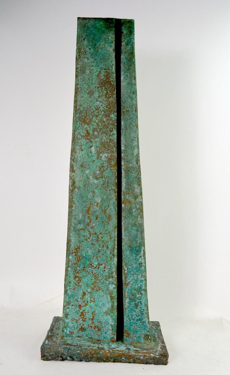 Verdigris Monolith Form Brutalist Sculpture by noted sculptor Jack Hemenway  For Sale 1