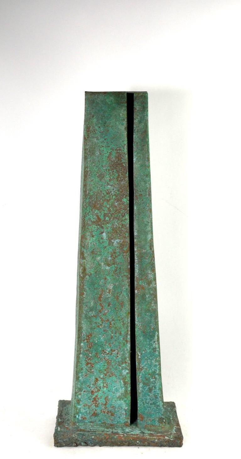 Verdigris Monolith Form Brutalist Sculpture by noted sculptor Jack Hemenway  For Sale 8