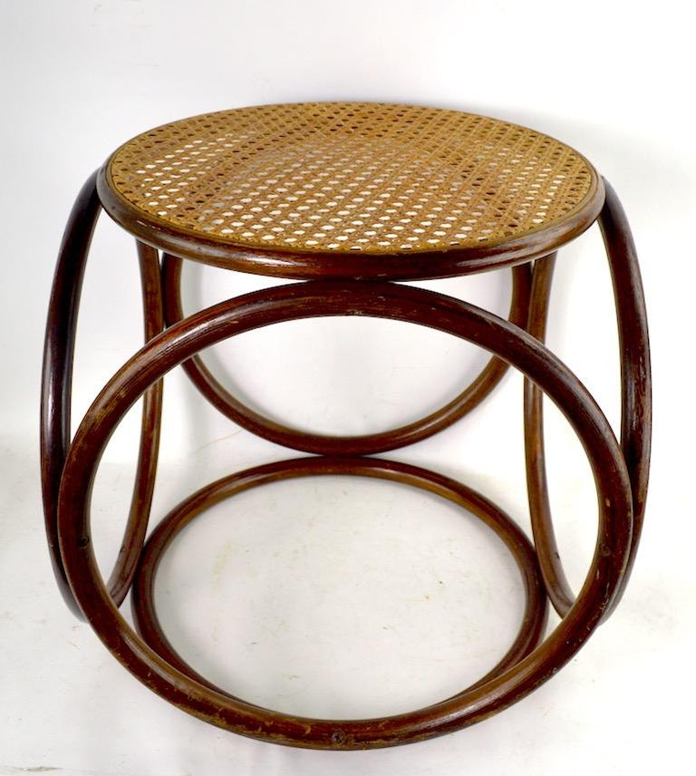 Vienna Secession Bentwood Thonet Stool with Caned Seat For Sale