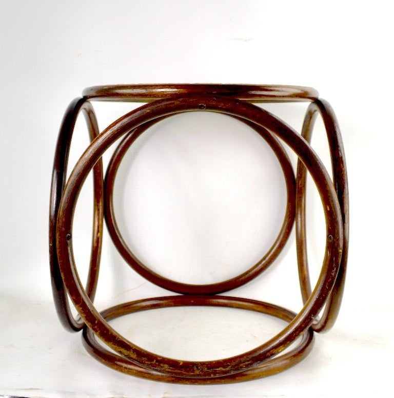 American Bentwood Thonet Stool with Caned Seat For Sale