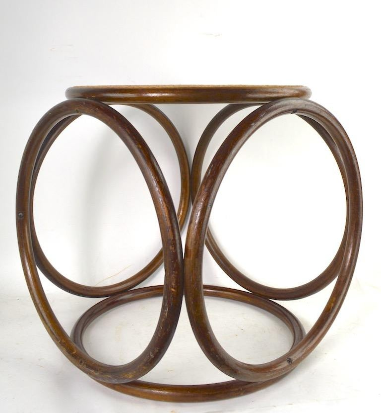Bentwood Thonet Stool with Caned Seat For Sale 2