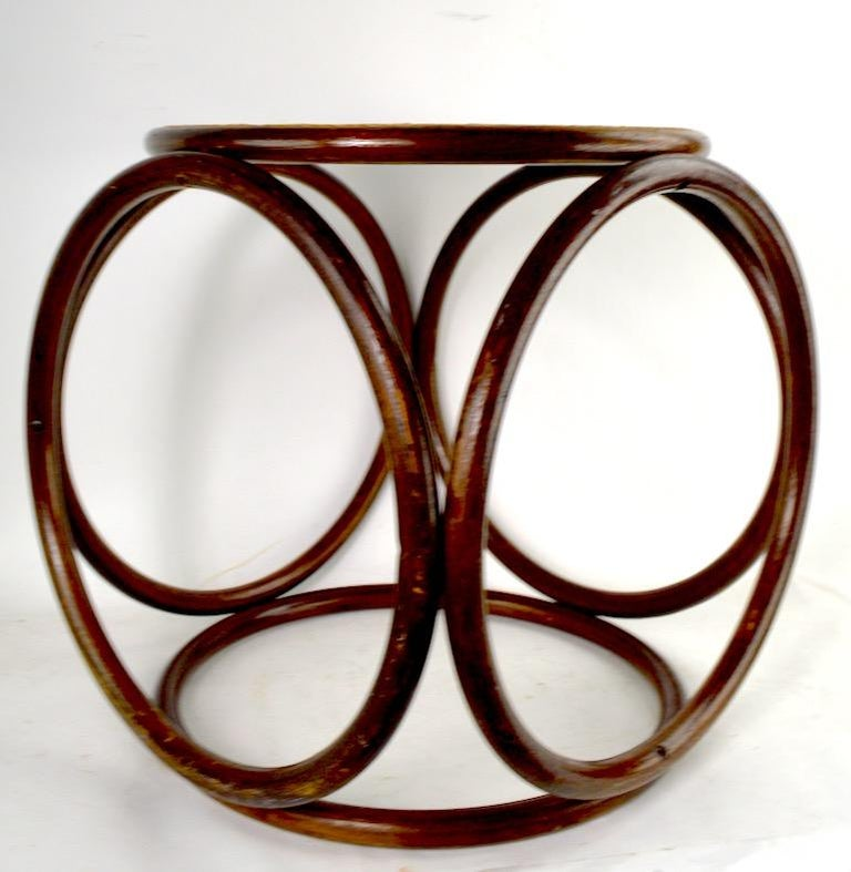 Bentwood Thonet Stool with Caned Seat For Sale 3
