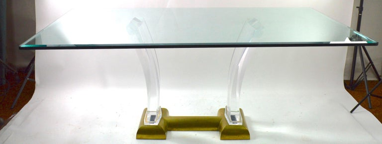Hollywood Regency Large Lucite Brass and Glass Dining Table by Jeffrey Bigelow For Sale