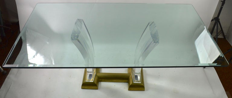 Large Lucite Brass and Glass Dining Table by Jeffrey Bigelow For Sale 6