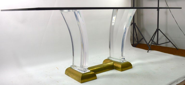 Large Lucite Brass and Glass Dining Table by Jeffrey Bigelow For Sale 8
