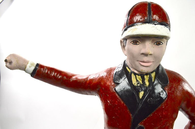 Folk Art Cement Lawn Jockey For Sale