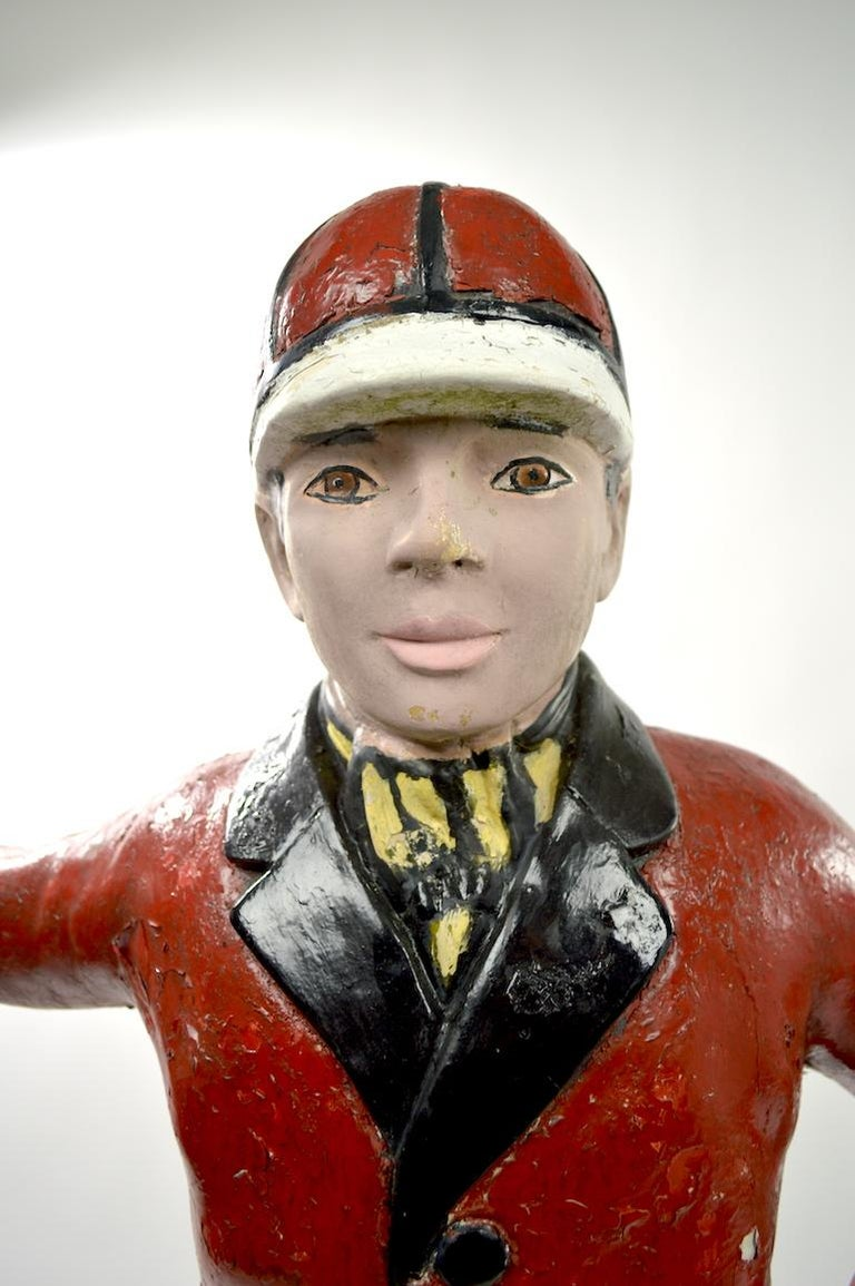 Cement Lawn Jockey In Good Condition For Sale In New York, NY