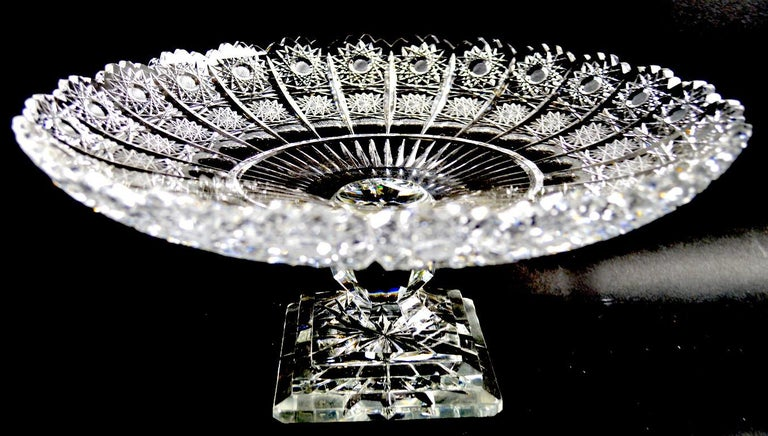 Cut Glass Tazza in the classical style, in perfect condition. We believe this example is 20th century. probably Made in Poland, however it is unsigned.