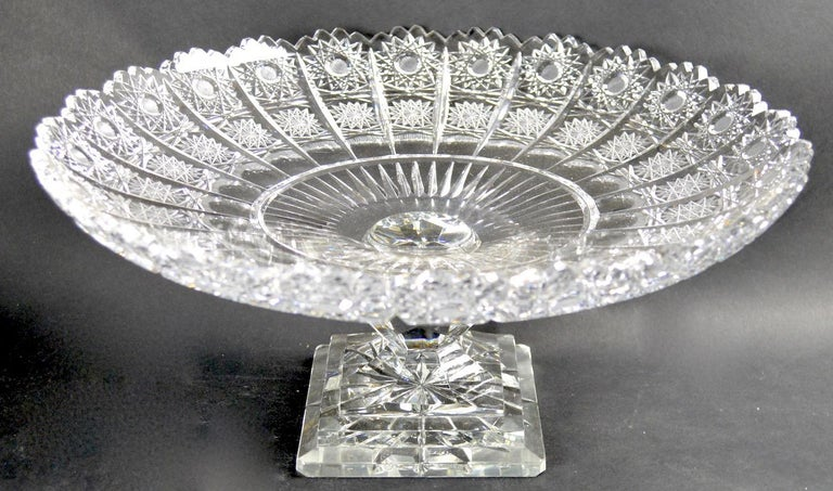 20th Century Classical Style Cut Glass Tazza For Sale