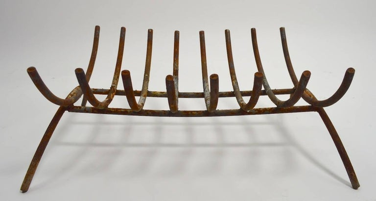 Midcentury Iron Fireplace Log Holder Grate In Good Condition For Sale In New York, NY