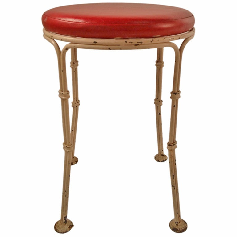 Wrought Iron Pouf Stool from Kutcher's Resort One of Six Available For Sale