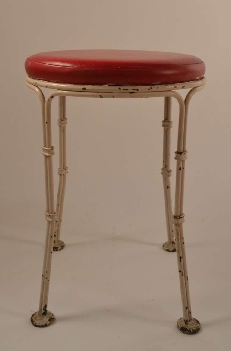 Mid-Century Modern Wrought Iron Pouf Stool from Kutcher's Resort One of Six Available For Sale
