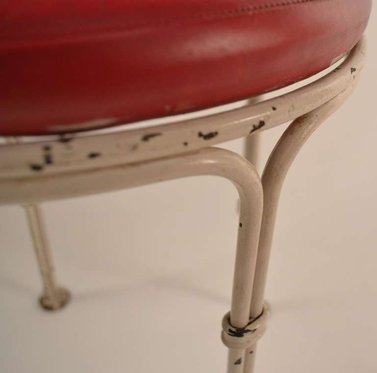 Wrought Iron Pouf Stool from Kutcher's Resort One of Six Available In Good Condition For Sale In New York, NY