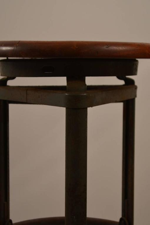 Industrial Stools Steel Base With Wood Seats For Sale At