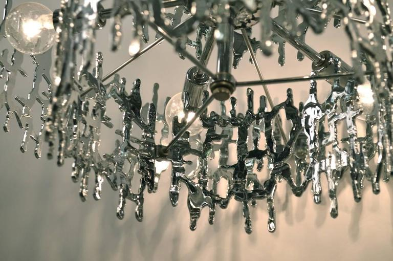 Late 20th Century Brutalist Chandelier in Chromed Plastic For Sale