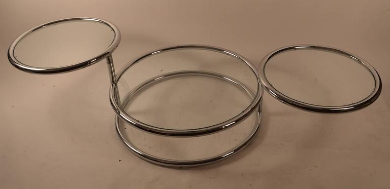 Mid-Century Modern Chrome Mechanical Disk Table For Sale