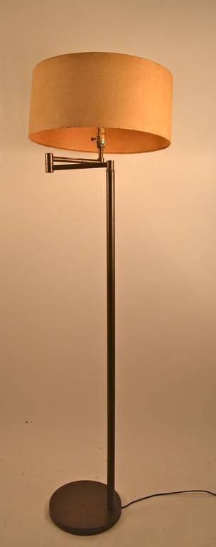 brass swing arm floor lamp for sale at 1stdibs. Black Bedroom Furniture Sets. Home Design Ideas
