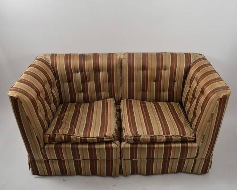 Diminutive Art Deco Sectional Loveseat, Needs Reupholstery For Sale 1