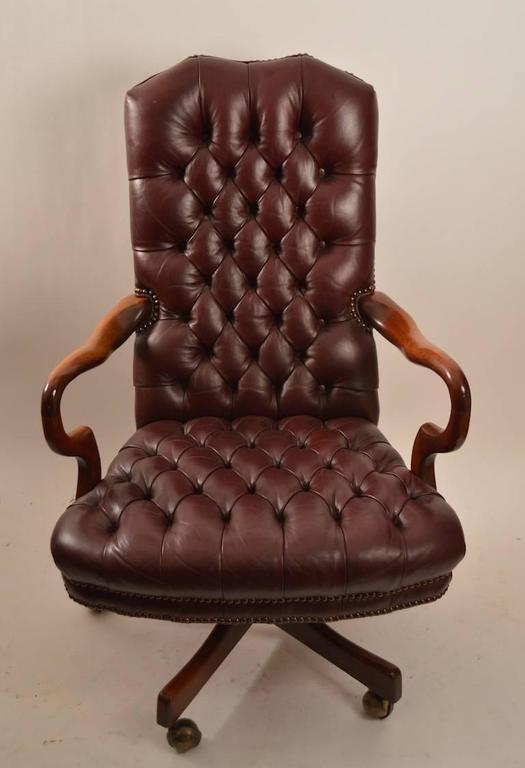 Swivel Tilt Tufted Leather Chair At 1stdibs