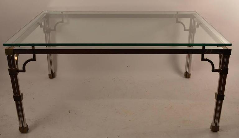 Italian Chrome and Brass Glass-Top Dining Table For Sale