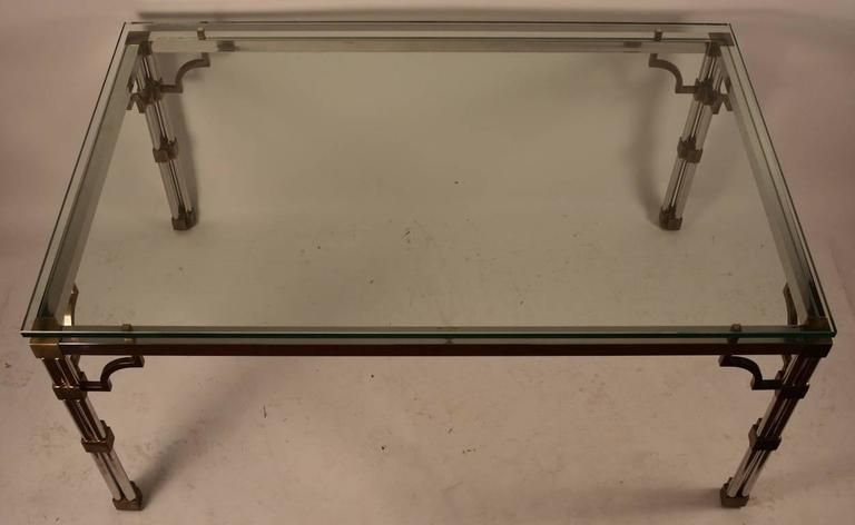 Chrome and Brass Glass-Top Dining Table In Excellent Condition For Sale In New York, NY