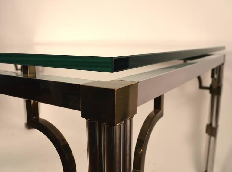 Late 20th Century Chrome and Brass Glass-Top Dining Table For Sale