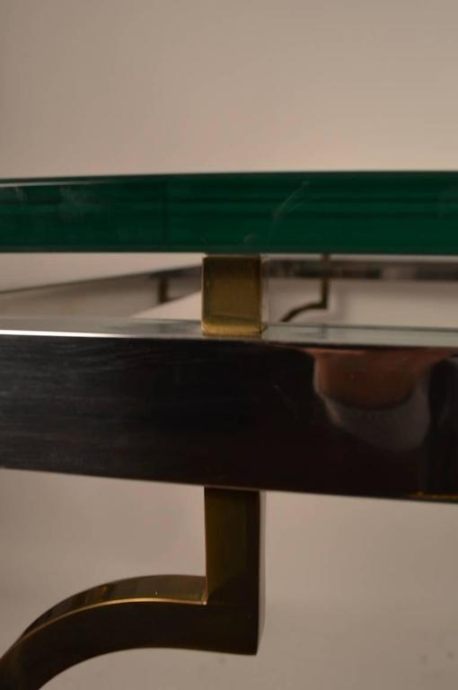 Chrome and Brass Glass-Top Dining Table For Sale 1