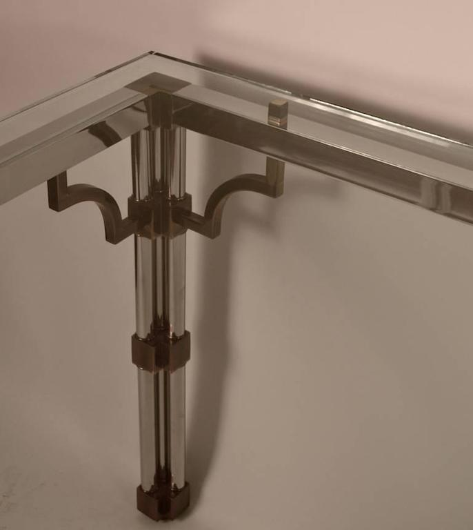 Chrome and Brass Glass-Top Dining Table For Sale 2