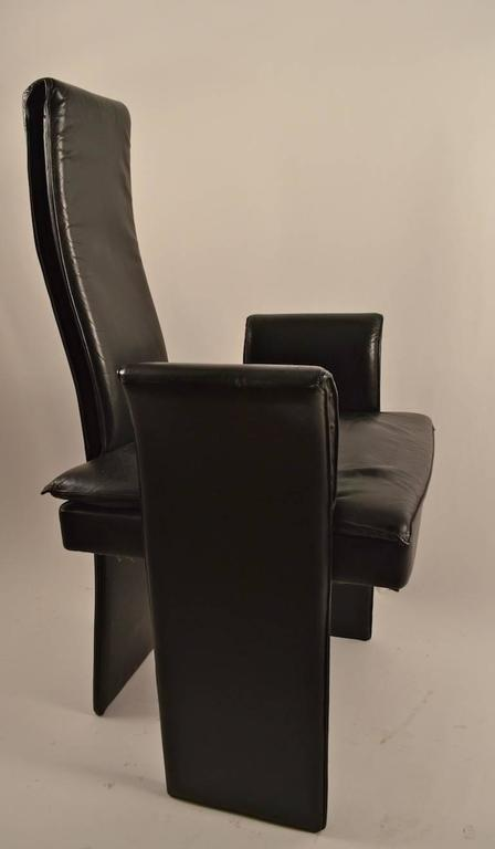 set of eight black leather post modern chairs for sale at 1stdibs. Black Bedroom Furniture Sets. Home Design Ideas