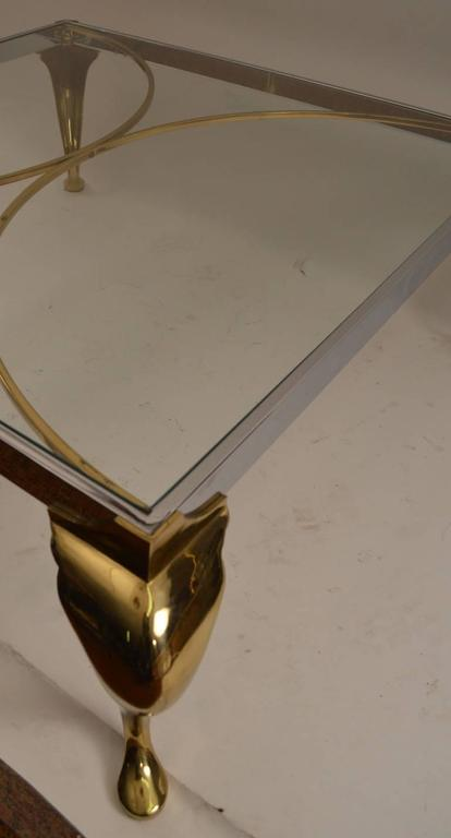 Mid-20th Century Hollywood Regency Brass and Chrome Coffee Table For Sale
