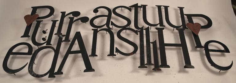 Mid-Century Modern Collection of Approximately 40 Steel Letters For Sale