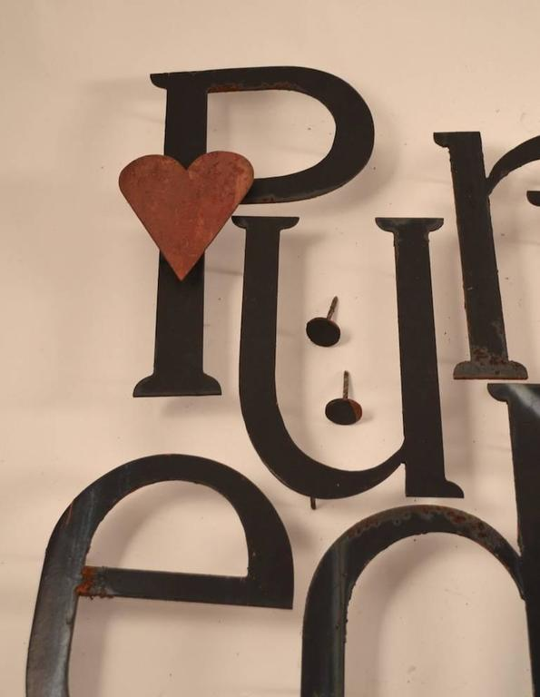 Collection of Approximately 40 Steel Letters In Good Condition For Sale In New York, NY
