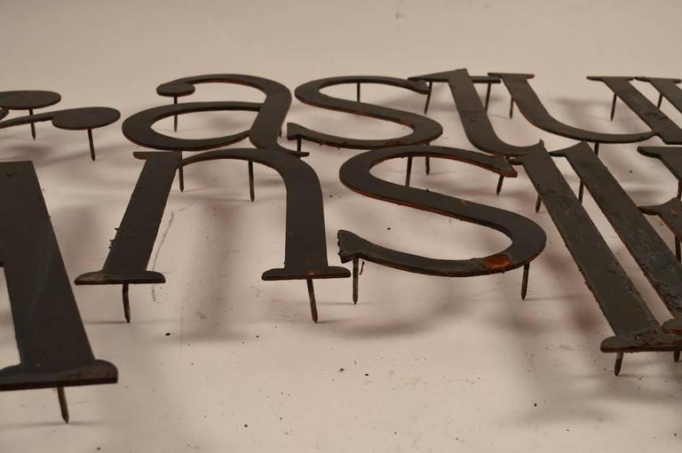 Iron Collection of Approximately 40 Steel Letters For Sale