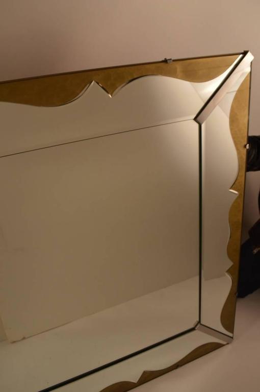 American Art Deco Venetian Style Mirror with Decorative Églomisé Trim For Sale
