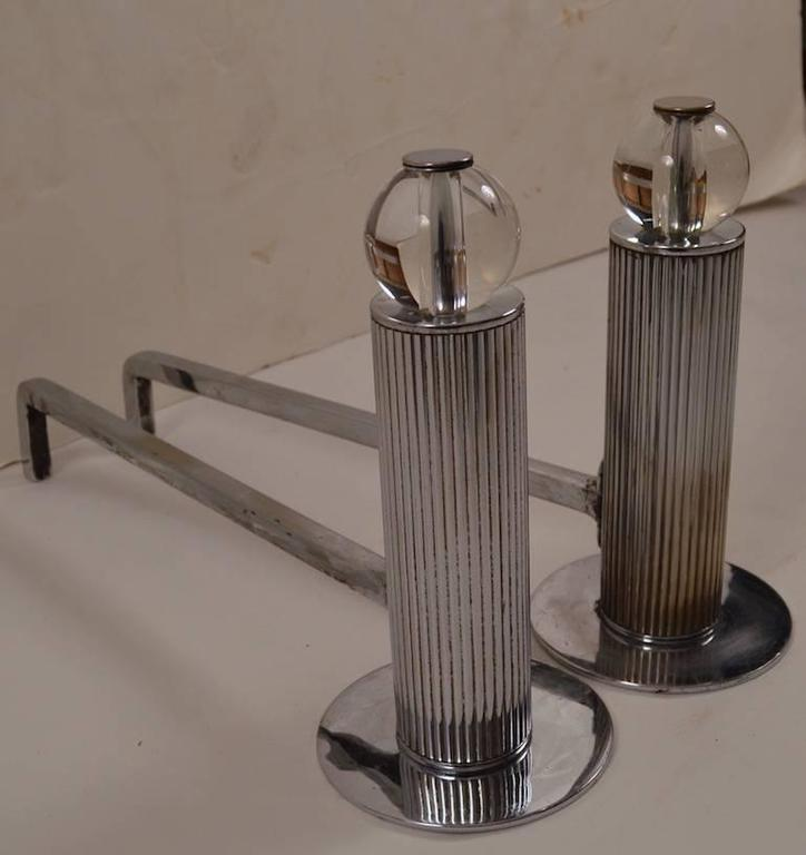 pair deco machine age chrome and glass andirons at 1stdibs