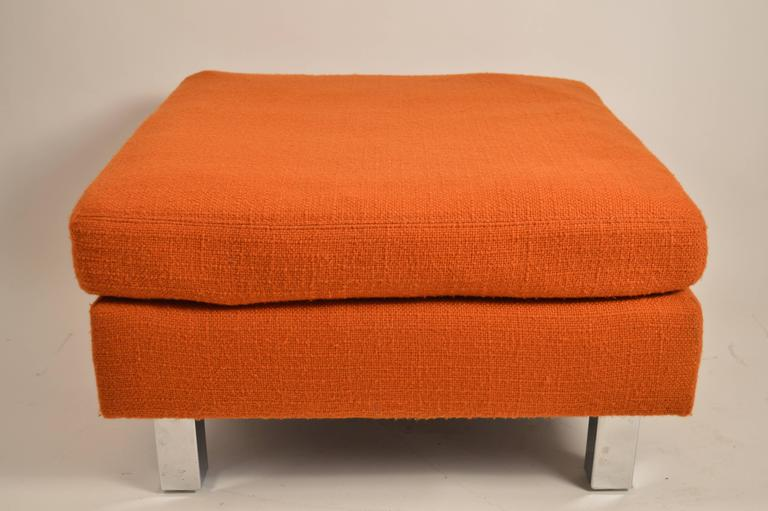 Three ottomans selling either as a lot, or individually, priced individually. These will need to be reupholstered as the foam cushions have become hardened. Square chrome legs, upholstered tops, removable cushions.